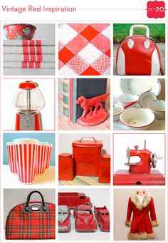 vintage red and white finds
