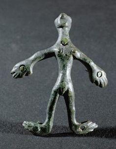 Male Figure / Hallstatt / c. BC (originally attached to a wooden jug). Male Figure, Lion Sculpture, Statue, Image, Art, Kunst, Art Background, Performing Arts, Sculptures
