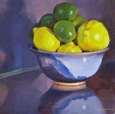 "Sedwick Studio: ""Lemons and Limes"" fruit bowl still life oil painting original"