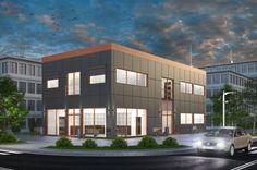 Projekt budynku usługowego K-32 (apteka, przestrzeń biurowa do zagospodarowania), piętrowy, bez podpiwniczenia.