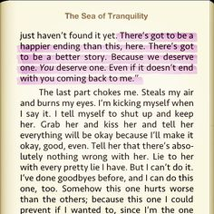 the sea of tranquility  I really want to read this now.. This excerpt just made me want to read this book. Now.