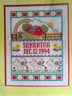 Bucilla Baby Collection Counted Cross Stitch Birth Record Sampler Barnyard Farm  #Bucilla #Sampler