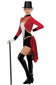 ringleader or women's tuxedo inspired costume Dance Recital Costumes, Cute Dance Costumes, Tap Costumes, Theatre Costumes, Ballet Costumes, Circus Costume, Costume Dress, Ringmaster Costume, Tap Dance