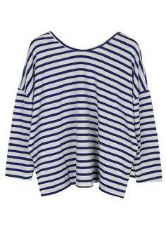 Blue White Striped Batwing Long Sleeve T-Shirt