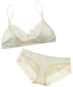 Mint satin and cream lace bra and panty set