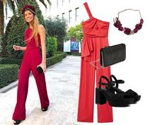 Mono asimétrico rojo con accesorios en negro Jumpsuit, Manga, Dresses, Fashion, Red Heels, Velvet Dresses, White Button Down, Red Gowns, Zara Shoes