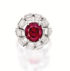 Very Important and Rare Ruby and Diamond Ring, Cartier, New York, Circa 1956