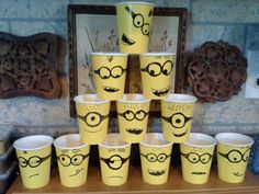 Fun twist on solo cup pyramid for nerf gun target practice Minion Baby, Minion Theme, Minion Birthday, 7th Birthday Party Ideas, 3rd Birthday, Despicable Me Party, Birthday Painting, Party Cups, Party Time