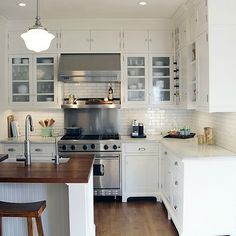 Taryn Emerson Interiors - kitchens - cottage kitchen, white kitchen, white cabinets, white kitchen cabinets, glass front cabinets, stainless...