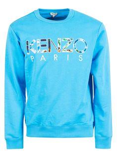 Kenzo Embroidered Logo Sweatshirt In Cyan Kenzo, Luxury Branding, Mens Fashion, Logo, Sweatshirts, Sweaters, Cotton, Clothes, Shopping
