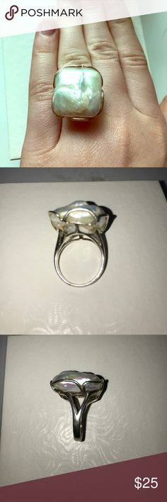 Boho ring Sterling silver stamped 925 ring size 6.5 with raw pearlescent stone Jewelry Rings