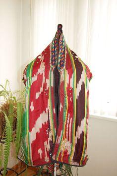 Festive clothes women southern Uzbekistan Vintage Uzbek  ikat atlas national cape dress embroidered  kaltacha