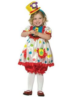 Kids Colorful Girl Clown Costume