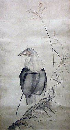 Hakuzosu the Fox-Spirit  Ôtagaki Rengetsu  (Japanese, 1791–1871)  Period: Edo period (1615–1868) Date: 19th century Culture: Japan Medium: Hanging scroll; ink, color, and silver on paper Dimensions: 38 1/4 x 11 7/8 in. (97.2 x 30.2 cm) Classification: Painting