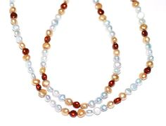 "1 Strand Natural White Freshwater Pearl Mixed W/Orange & Red Pearl 8-9mm 36""Long #luctsa #Smooth"
