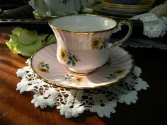 Gladstone Bone China Floral Teacup - Pink Tea Cup and Saucer 8945. $22.00, via Etsy.