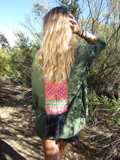 Vintage army jacket w/fringe panel by Coconut Village