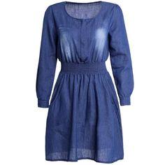 Stylish Solid Color Long Sleeve Scoop Neck Women's Denim Dress — 9.98 € Size: L Color: BLUE