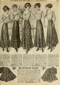 Edwardian fashion plate in Macy's spring 1911 catalog. Petticoats, undergarments, lingerie.