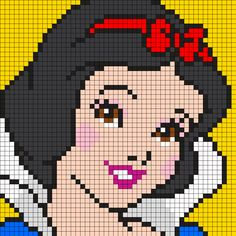blanche-neige-disney-perles-hama-grille-gratuiteYou can find Pixel art and more on our website. Kandi Patterns, Perler Patterns, Beading Patterns, Crochet Patterns, Crochet Pixel, Crochet Chart, C2c Crochet, Crochet Afghans, Crochet Lace