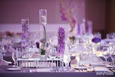 One of the centerpieces sat on mirrored boxes to create a truly modern centerpiece.