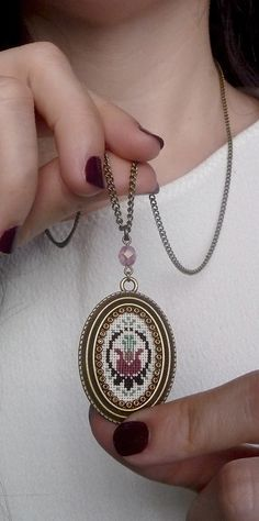 Floral embroidered pendant, Vintage style necklace, Cross stitch pendant…