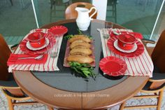 red and off-white table setting