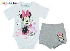 A 2 részes szett tökéletes választás a mindennapokban a kicsik számára. Megkönnyíti a reggeli öltözködést, így nem kell keresgélni az összeillő darabokat. Garantáltan szeretni fogják a kicsik, hisz egész nap kedvencüket hordhatják magukon. Anyagának köszönhetően kényelmes viseletet biztosít. A Minnie Mouse mintával nyomott ruhaegyüttes megfelelő választás gyermeked számára.     Jellemzői:   - 1 db rövid ujjú body  - 1 db rövidnadrág   - Gumis derék  - Pamut  - Minősége I. osztály Lany, Baby Disney, Minnie Mouse, Onesies, Kids, Clothes, Products, Fashion, Young Children