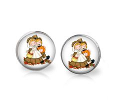 Cute Kids Earrings-post,thanksgiving,fall,pilgrims.pumpkins #Handmade #Stud