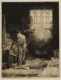 Rembrandt van Rijn – Faust in His Study, Watching a Magic Disk, c.1653, Etching | Harvard Art Museums