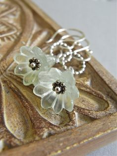 The Hellebore earrings - beautiful soft sage prehnite carved flowers on sterling - subtle and so lovely!