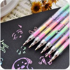 Cheap pen drive 8 gb, Buy Quality pen spray directly from China pen clear Suppliers: Cute Design Ink 6 Colors Highlighter Pen Marker Stationery Point Pen Colorful Stationery Writing Supply Girls Painting Pens Chalk Pens, Gel Ink Pens, Paint Pens, Korean Stationery, School Stationery, Cute Stationery, Multi Color Pen, Highlighter Pen, Highlighters