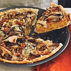 Butternut squash tart w mushrooms and Gruyere. Lovely! Used bacon instead of pancetta. Would have used more mushrooms next time