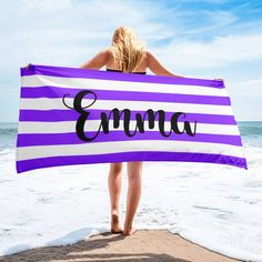 Personalized Name Blankets Rainbow Family, White Names, Striped Towels, Font Names, Personalised Blankets, Burnt Orange, Beach Mat, Outdoor Blanket
