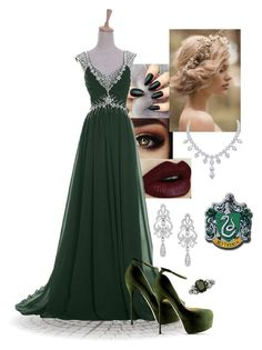 """Slytherin Yule Ball"" by deathlyzhallows on Polyvore featuring Wrapped In Love, Roland Mouret, harrypotter, slytherin and yuleball"