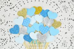 40PCS Custom Handmade Ocean Blue Heart Wedding Cupcake Toppers, baby boys Birthday Party Decoration,baby shower Decoration  //Price: $12.00 & FREE Shipping //     #babyshowerdeals #design #ideas #babies #baby #babygirl #babyboy #babyroom #gift #baloons #babyshower