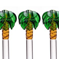 palm tree swizzle sticks cause I look for a lot of kitch in my tropical drinks Cocktail Accessories, Glass Fusion Ideas, Fused Glass, Blown Glass, Stir Sticks, Cocktail Glass, Cool Bars, How To Make Beads, Palm Trees