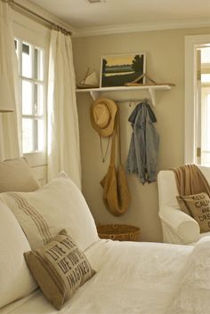 """Designer Dad Studio Benjamin Moore """"Jute"""" for the walls and trim is """"Simply White. Bedroom Closet Design, Master Bedroom Design, Bedroom Decor, Bedroom Ideas, Guest Bedrooms, Guest Room, Paint Color Schemes, Paint Colours, Simpsons Treehouse Of Horror"""