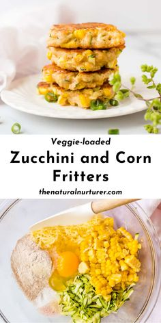 Corn Fritters Healthy, Zucchini Corn Fritters, Healthy Corn, Easy Healthy Recipes, Easy Dinner Recipes, Healthy Snacks, Vegetarian Recipes, Easy Meals, Veggie Fritters