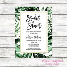 Tropical Bridal Shower Invitation Palm Tree Leaf by CasaConfetti