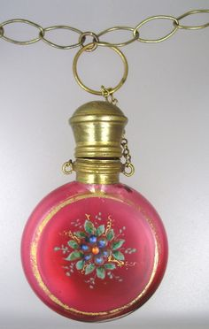 FRENCH Antique CHATELAINE Enamel Painted Ruby Pink GLASS  Floral  PERFUME BOTTLE…