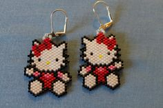 Hello Kitty Red Beaded Earrings by Bead4Fun on Etsy, $25.00