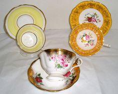 vintage teacups- china teacups- mismatch teacups- mismatched china- lot of teacups- fine china- flawed teacups- floral china teacups- china by DivaDecades on Etsy