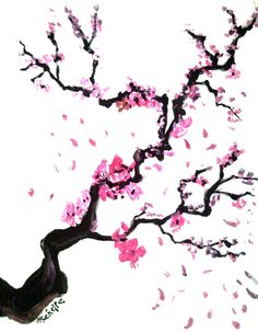 How to make cherry blossom art.