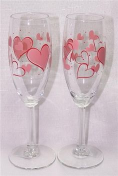 hearts hand painted wine glasses gift for her anniversary gift valentines day gift idea gift for woman pink and red heart design pinterest heart - Valentine Wine Glasses