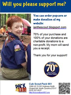 Cub Scout Popcorn Sale, 1/4 flyer made with @libraryaware