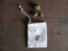 Felted wool acorn party favor bags, set of 5. $25.00, via Etsy.