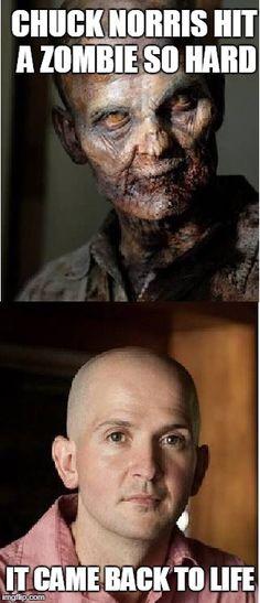 Chuck Norris hit a zombie