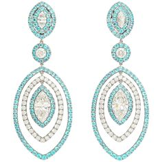Extraordinary Paraiba Tourmaline Diamond Platinum Earrings | From a unique collection of vintage drop earrings at https://www.1stdibs.com/jewelry/earrings/drop-earrings/