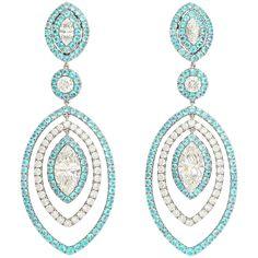 Extraordinary Paraiba Tourmaline Diamond Platinum Earrings